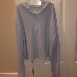 Thin waffle knit cropped hoodie